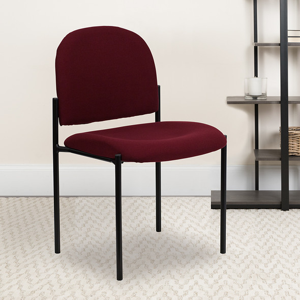 Burgundy Fabric Stack Chair - FLBT-515-1-BY-GG