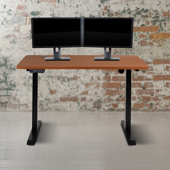 Mahogany Electric Stand Desk