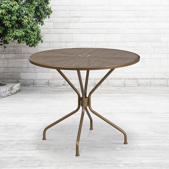 35.25rd Gold Patio Table