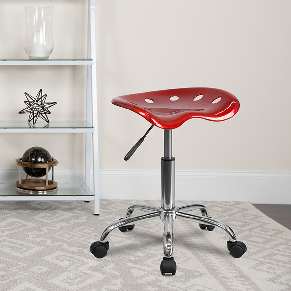Wine Red Tractor Stool