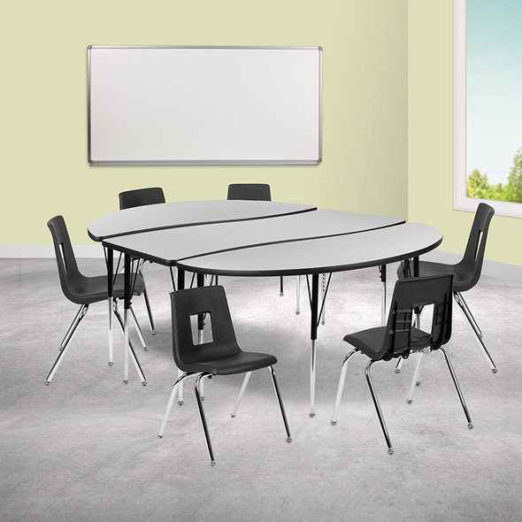 """86"""" Oval Wave Grey Table Set - FLXU-GRP-18CH-A3060CON-60-GY-T-A-GG"""