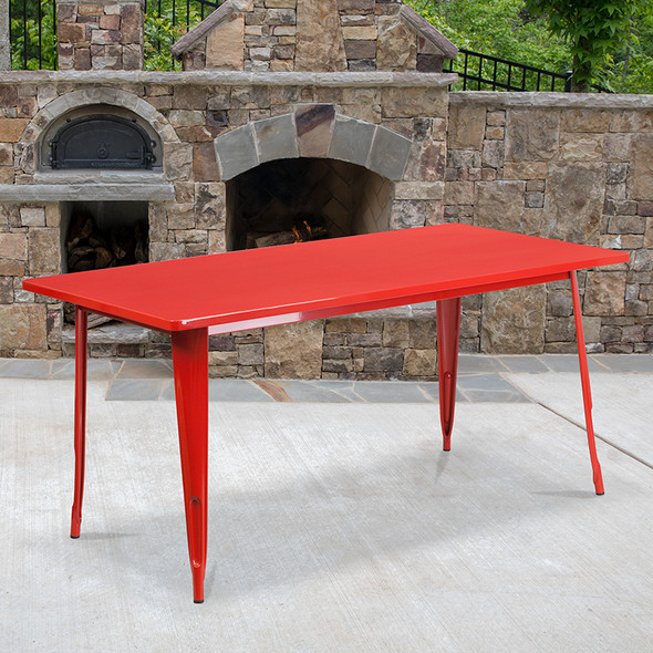 31.5x63 Red Metal Table