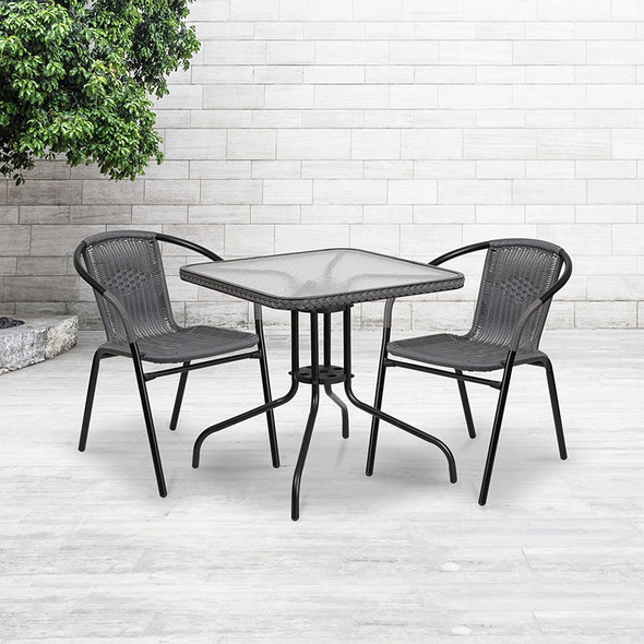 28sq Glass Table-gry Rattan
