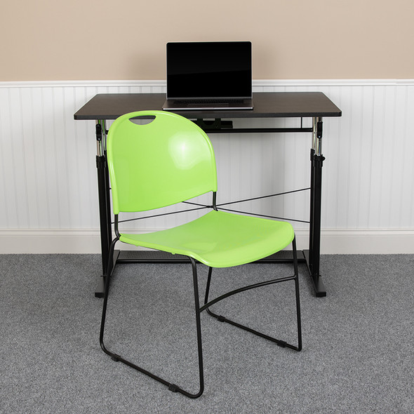 Green Plastic Stack Chair - FLRUT-188-GN-GG