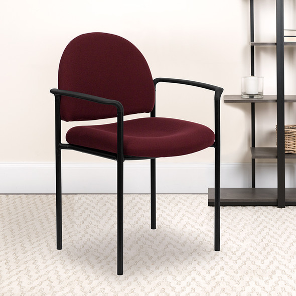 Burgundy Fabric Stack Chair - FLBT-516-1-BY-GG