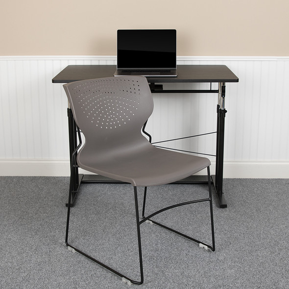 Gray Plastic Stack Chair - FLRUT-438-GY-GG