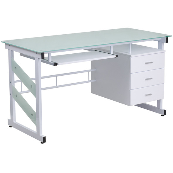Frosted Glass 3 Drawer Desk