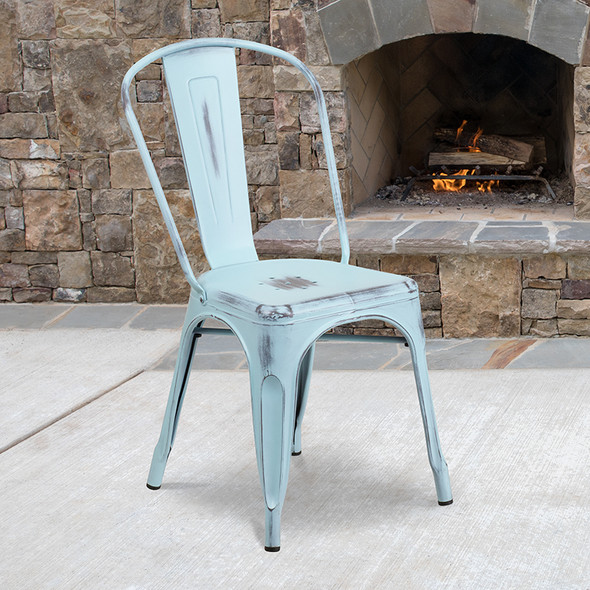Distressed Gn-blue Metal Chair
