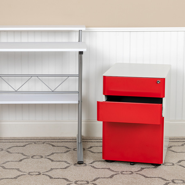 Drawer File Cabinet-white/red - FLHZ-CHPL-02-RED-WH-GG
