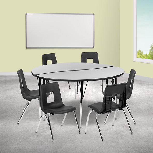 """60"""" Circle Wave Grey Table Set - FLXU-GRP-18CH-A60-HCIRC-GY-T-A-GG"""