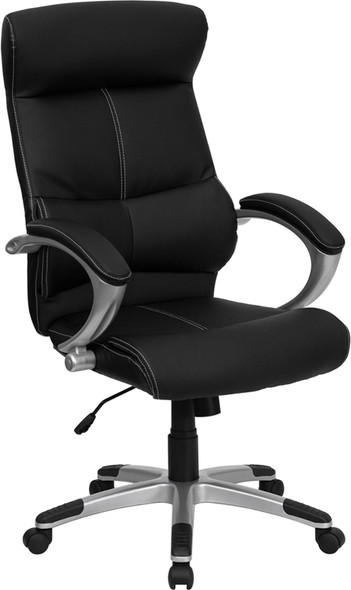Black High Back Leather Chair - FLH-9637L-1C-HIGH-GG