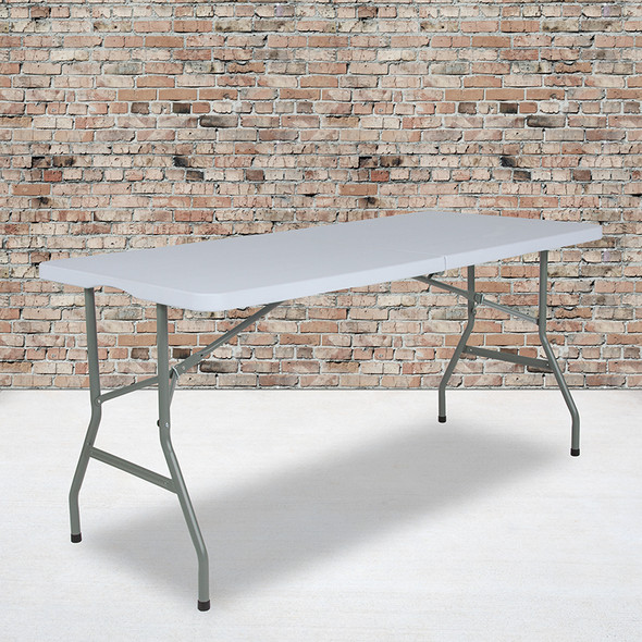 30x60 White Plastic Fold Table - FLRB-3060FH-RES-GG