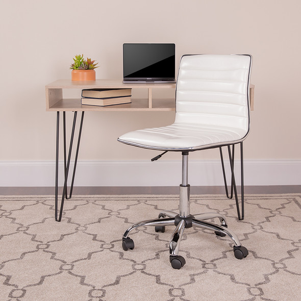 White Low Back Task Chair - FLDS-512B-WH-GG