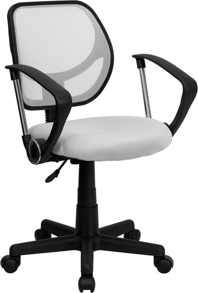 White Low Back Task Chair - FLWA-3074-WHT-A-GG