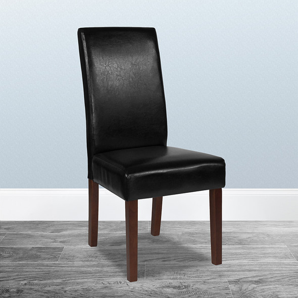 Black Leather Parsons Chair - FLQY-A37-9061-BKL-GG
