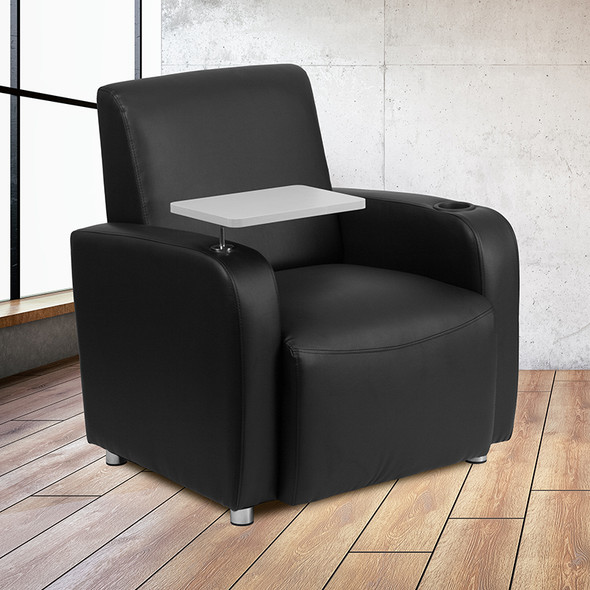 Black Leather Tablet Chair