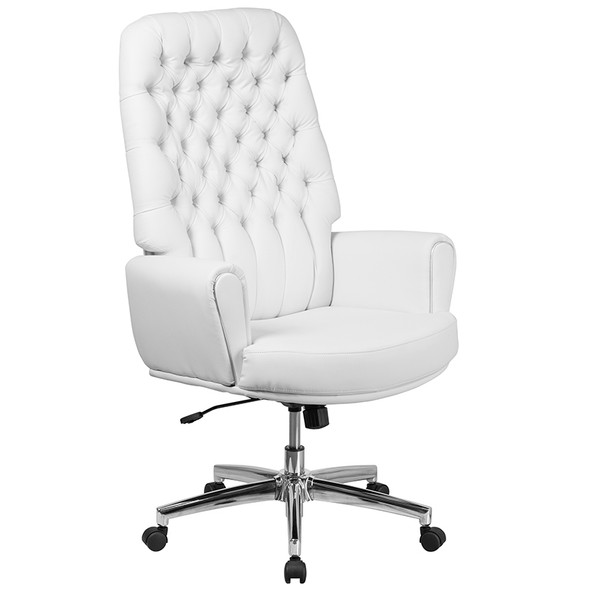 White High Back Leather Chair - FLBT-444-WH-GG