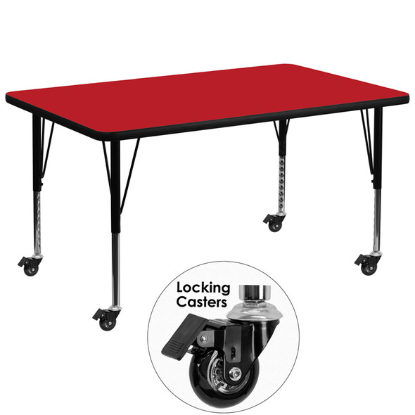 36x72 Rec Red Activity Table - FLXU-A3672-REC-RED-H-P-CAS-GG