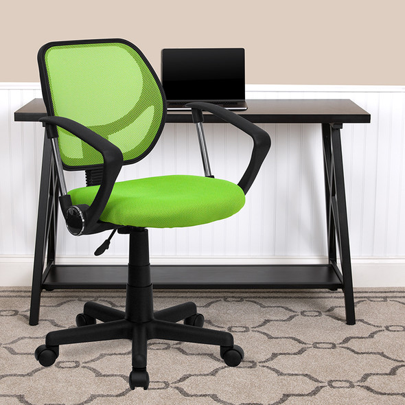 Green Low Back Task Chair - FLWA-3074-GN-A-GG