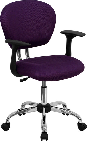 Purple Mid-back Task Chair - FLH-2376-F-PUR-ARMS-GG