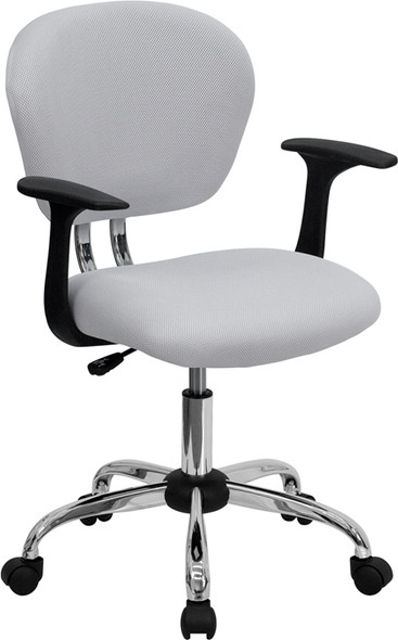 White Mid-back Task Chair - FLH-2376-F-WHT-ARMS-GG