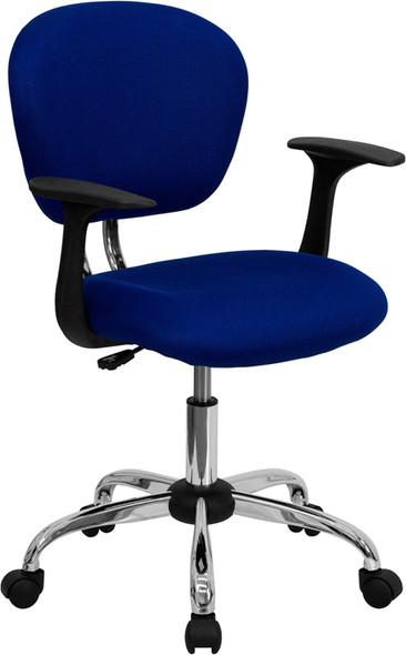 Blue Mid-back Task Chair - FLH-2376-F-BLUE-ARMS-GG