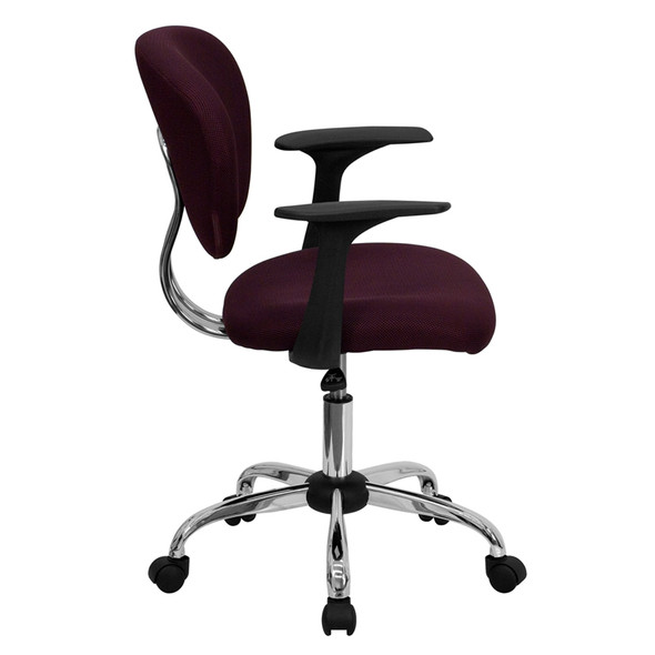 Burgundy Mid-back Task Chair - FLH-2376-F-BY-ARMS-GG