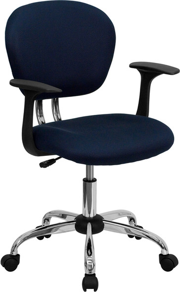 Navy Mid-back Task Chair - FLH-2376-F-NAVY-ARMS-GG