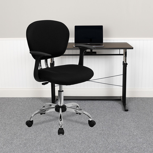 Black Mid-back Task Chair - FLH-2376-F-BK-ARMS-GG