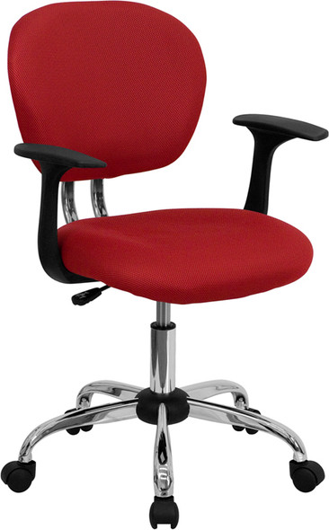 Red Mid-back Task Chair - FLH-2376-F-RED-ARMS-GG