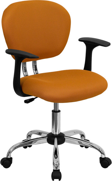 Orange Mid-back Task Chair - FLH-2376-F-ORG-ARMS-GG