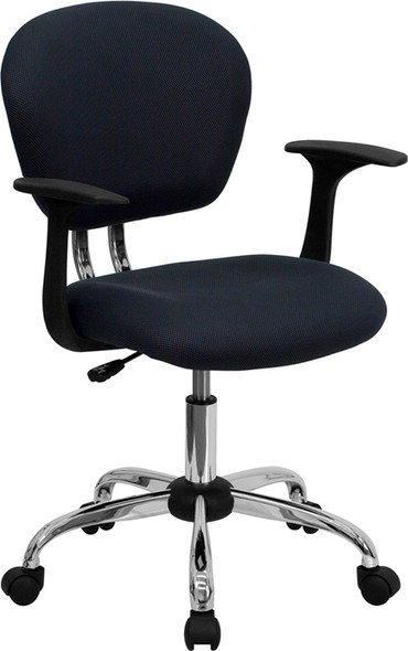 Gray Mid-back Task Chair - FLH-2376-F-GY-ARMS-GG