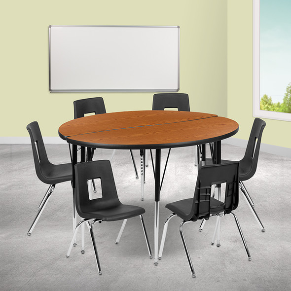 """60"""" Circle Wave Grey Table Set - FLXU-GRP-16CH-A60-HCIRC-GY-T-A-GG"""