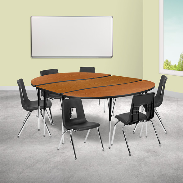 """48"""" Circle Wave Grey Table Set - FLXU-GRP-16CH-A48-HCIRC-GY-T-A-GG"""