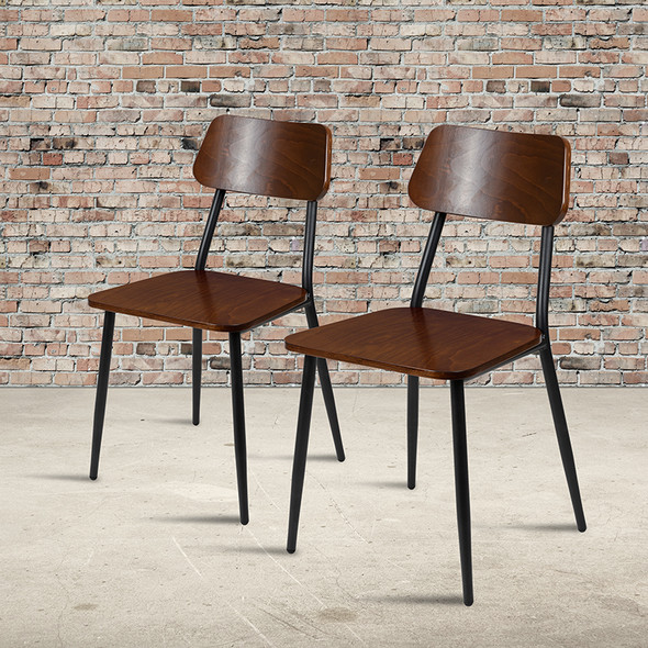 2 Pack Industrial Dining Chair