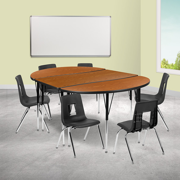 """86"""" Oval Wave Grey Table Set - FLXU-GRP-16CH-A3060CON-60-GY-T-A-GG"""