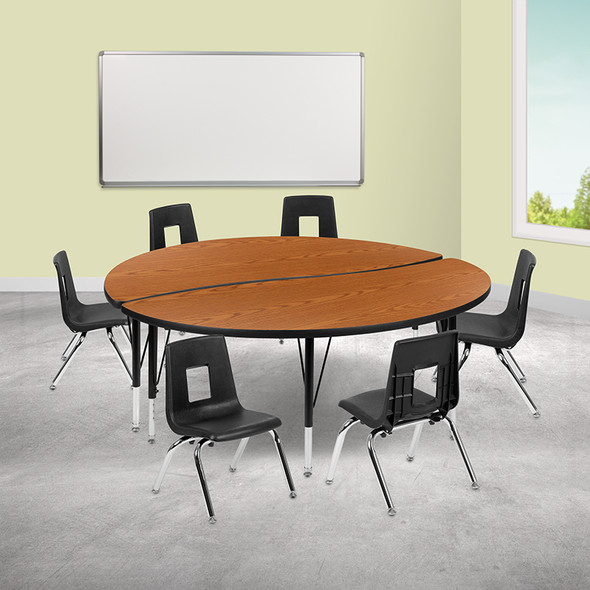 """76"""" Oval Wave Grey Table Set - FLXU-GRP-16CH-A3048CON-48-GY-T-A-GG"""