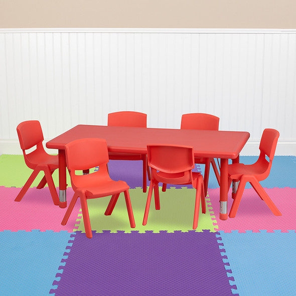 24x48 Red Activity Table Set