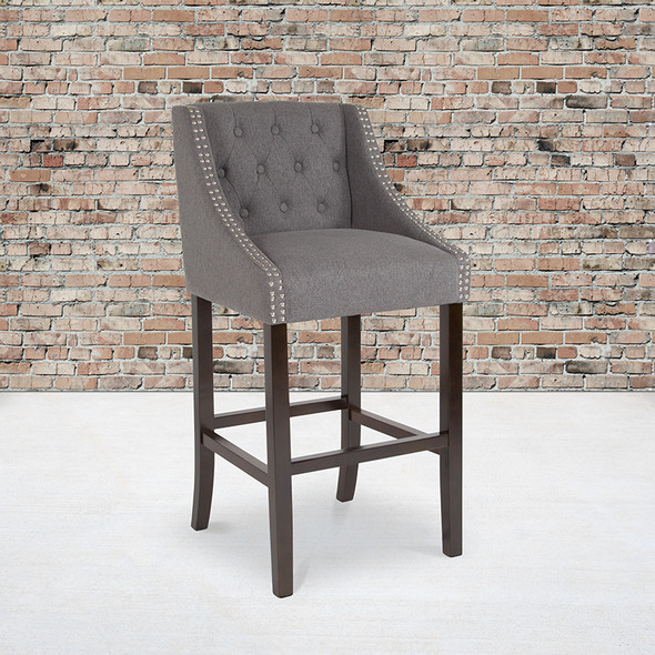 """30"""" Gray Fabric/wood Stool - FLCH-182020-T-30-DKGY-F-GG"""