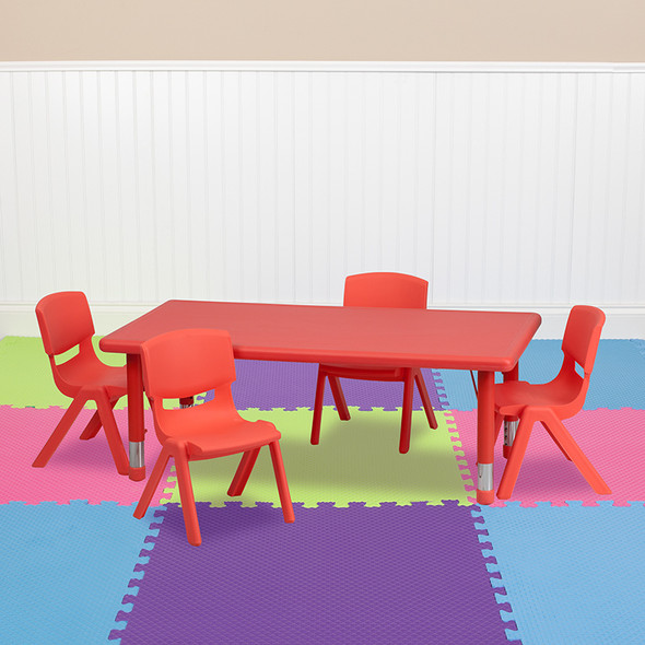 24x48 Red Activity Table Set - FLYU-YCX-0013-2-RECT-TBL-RED-R-GG