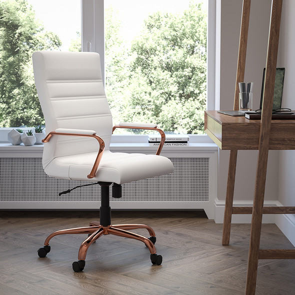White High Back Leather Chair - FLGO-2286H-WH-RSGLD-GG