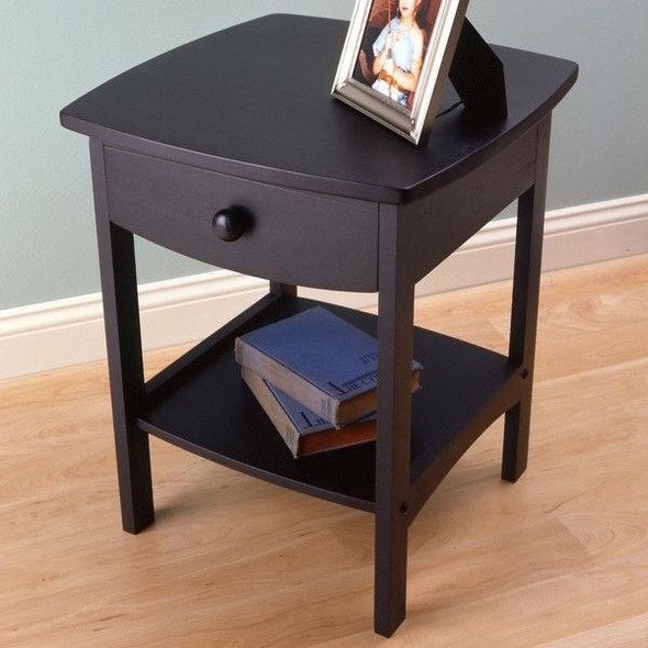 Black 1-Drawer Bedroom Nightstand Contemporary End Table