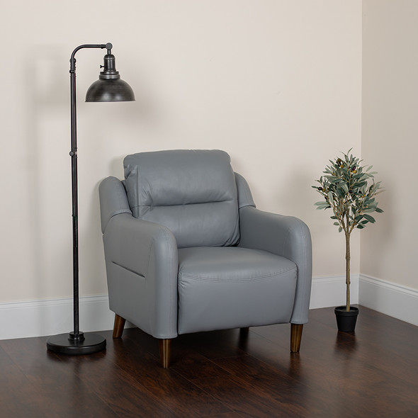 Gray Leather Chair - FLBT-S8372A-CH-GRY-GG