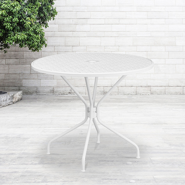 35.25rd White Patio Table