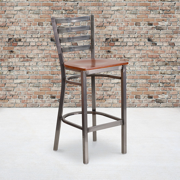 Clear Ladder Stool-cherry Seat