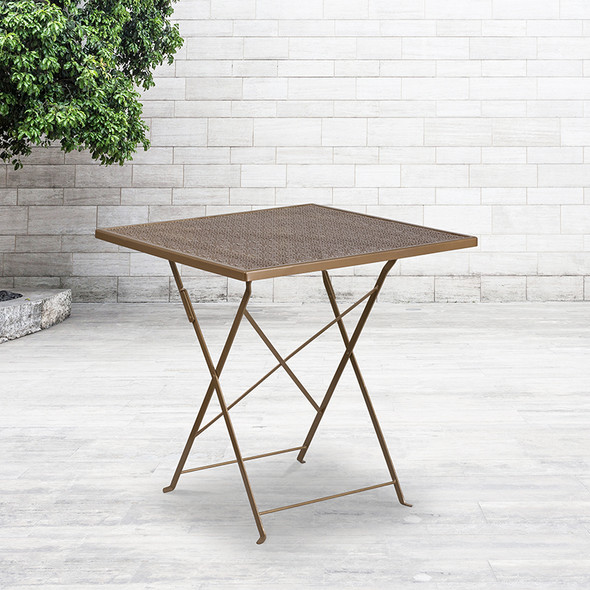 28sq Gold Folding Patio Table
