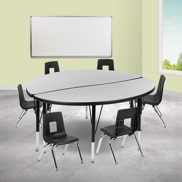 """48"""" Circle Wave Grey Table Set - FLXU-GRP-12CH-A48-HCIRC-GY-T-P-GG"""