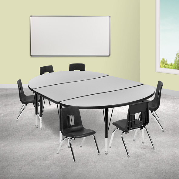 """76"""" Oval Wave Grey Table Set - FLXU-GRP-14CH-A3048CON-48-GY-T-P-GG"""