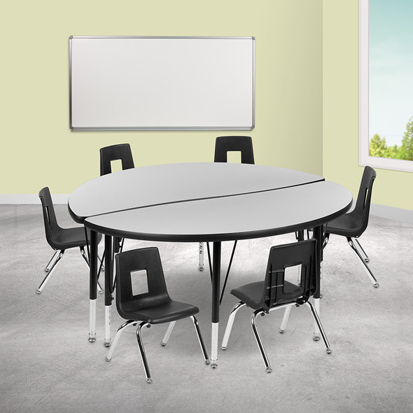 """48"""" Circle Wave Grey Table Set - FLXU-GRP-14CH-A48-HCIRC-GY-T-P-GG"""