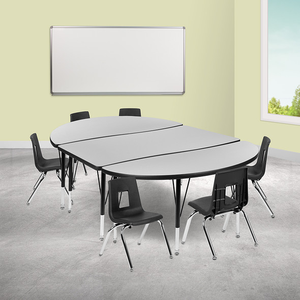 """76"""" Oval Wave Grey Table Set - FLXU-GRP-12CH-A3048CON-48-GY-T-P-GG"""